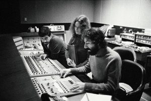 Carole King, Lou Adler, and Franci Cicalo in the studio for Tapestry